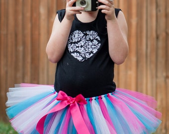Turquoise, White & Pink 'Photo Punks' Tutu, toddler tutu, girls tutu, size 2 3 4 photo prop, birthday tutu, 2T, 3T, 4T, tutu dress up skirt