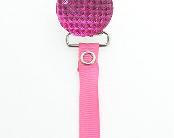 Hot Pink Crystal Clip with Solid Ribbon Pacifier Clip (RQSHP)(msrp 19.99)