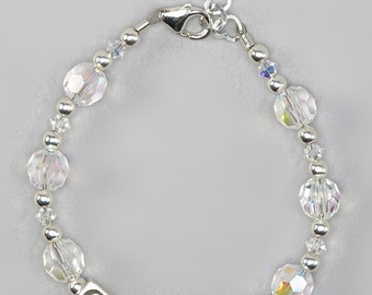 Personalized Clear Crystal Bracelet made with Swarovski Elements (B121)