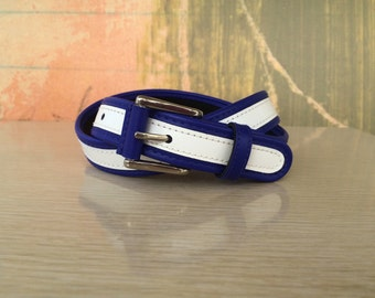 Two-Tone Belt Size S/M • Vintage 80s Belt • Blue and White Belt • Leather Belt • 1980s Belt • Two Tone • 1980s Belt