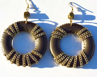 NINA // Gold Leather Hoop Earrings/ Chain Hoops/ Bronze Earrings/ Fall Fashion/ Large Hoops/ Statement Earrings/ Fashion Hoops/ Gift for Her