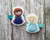 Norwegian Sisters Hair Clip Set, Ice Queen and Snow Princess Clippie, Princess Inspired Hair Clip for Baby, Toddler or Girl in Baby Blue