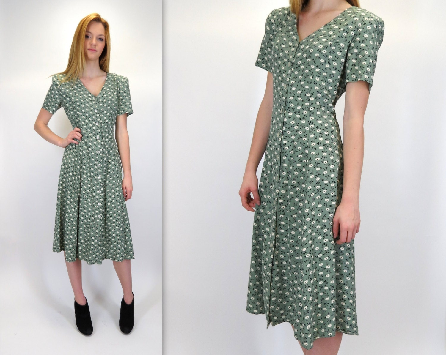 Vintage Wedding Dress 90s: Vintage 90s Button Front Green Tiny Floral Print Below Knee