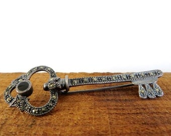 Vintage Key Brooch Marcasite Onyx FAS 1980s Sterling Pin