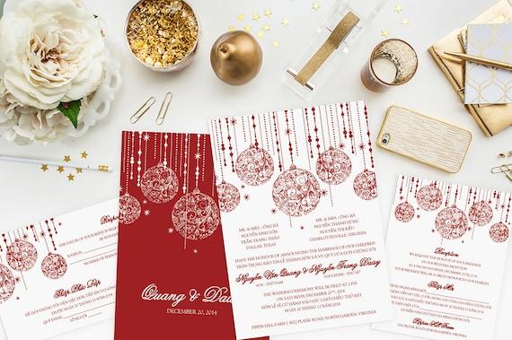 Bilingual Wedding Invitations: Holiday Wedding Invitation Set Bilingual Vietnamese