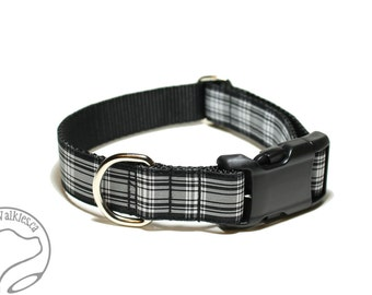 """Menzies Clan Tartan - 1"""" (25mm) Wide - Plaid Dog Collar - Black and White Tartan - Martingale or Side Release - Choice of style and size"""