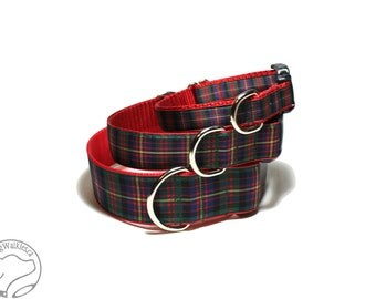 """Cameron Clan Tartan Dog Collar - 1.5"""" (38mm) Wide - Cameron of Erracht Plaid - Martingale or Side Release - Choice of collar style and size"""