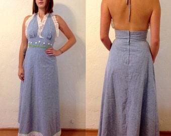 1960s light denim low back halter maxi dress w/ lace trim & button/embroidery flowers