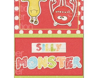 Digital Printable Silly Monster Popcorn Wrapper