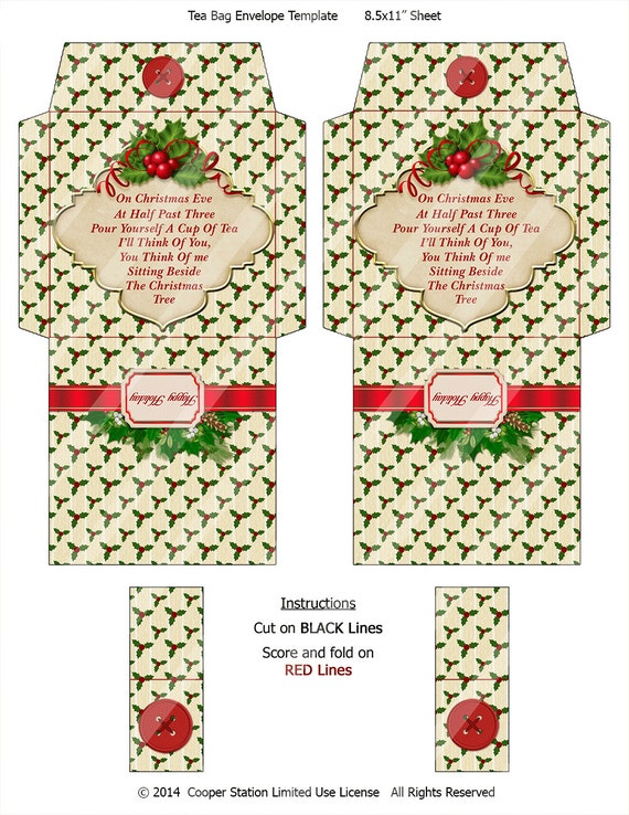 Digital Printable Christmas Tea Bag Envelope 004 - Tea Bag ...