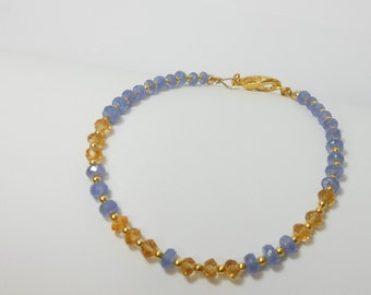 Genuine Tanzanite and Citrine Gemstone Bracelet with Goldplated lobster claw clasp and spacers