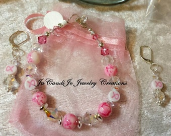 "ON SALE Breast Cancer Awareness SILVER and Crystal 2 piece 6-7"" bracelet and dangle earring set"