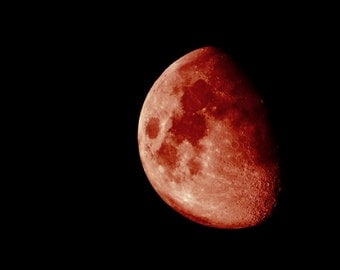 Blood Moon - Original Fine Art Photograph - Half Moon Phase, Astronomy, Surreal, Halloween, Square, FREE SHIPPING