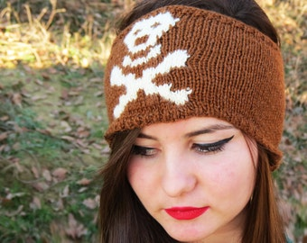 Hand Knit Skull Headband Camel & Ivory Ear Warmer by EmofoFashion and NEW Colors too Women Headband, Hair cover, Skull Ear Warmer, Accessory