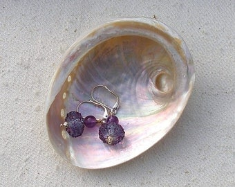 Sparkling Purple Sugar Lampwork Bead Earrings   567