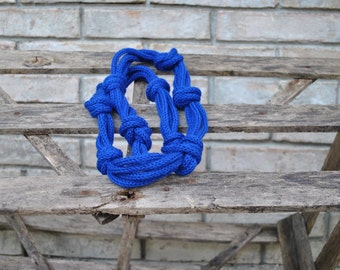 Knit necklace, knitted fiber necklace, royal blue Necklace, fiber jewelry, winter fashion, knitted jewelry