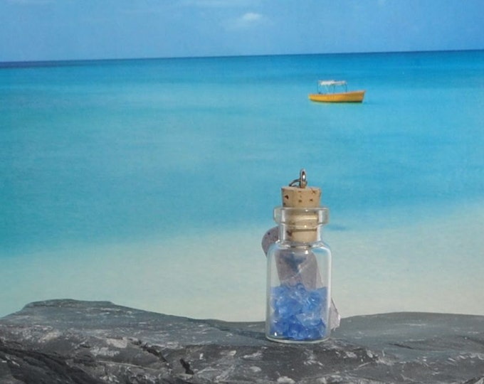 March Birthstone Aquamarine Light Blue Sea Glass in Miniature Bottle