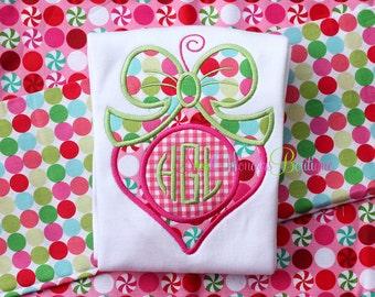 Girl Ornament Embroidered Shirt - Christmas Shirt - Ornament Shirt - Girls Christmas Shirt - Monogram Ornament - Ornament - Christmas