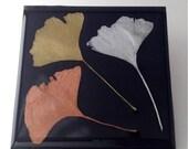 Metallic Ginko Leaf Coasters - Set of 4
