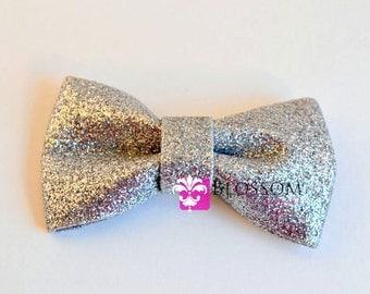SILVER - The Eva Collection - Glitter Bows - DIY Bow Headband - Holiday Wedding Bridal Bows - Sparkle Shimmery Blossom Supplies Wholesale