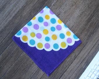 Mod Purple Polka Dot Hankie~New Wave/Retro '60s Purple Handkerchief with Yellow/Turquoise Dots~Mod Gift Hankie; Free Ship/U.S.