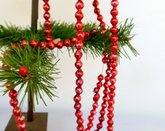 Red Mercury Glass Christmas Garland 9 Feet Long with Cardboard ends