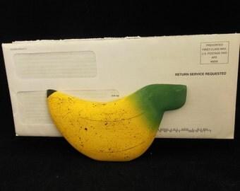 Wood Banana Shaped Napkin or Letter Holder Lightweight Wooden Fruit for Kitchen or Office