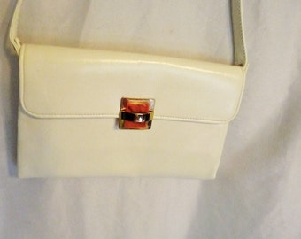 White Leather Purse with Amber Lucite Clasp and Gold Accents