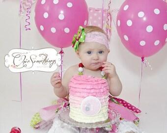 strawberry tutu, pink and green tutu, strawberry birthday tutu, green and pink birthday, first birthday tutu, strawberry costume tutu UD