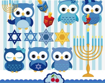 Hanukkah Jewish Owl Digital Clip Art Set,Owls Digital Clip Art,Hanukkah Design Elements-Personal and Commercial Use