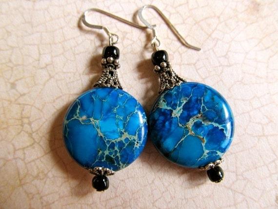 Turquoise Dangle Earrings Art Deco Sterling Earrings Art Nouveau Earrings Blue Earrigs Blue Gemstone Earrings Filigree Earring- Molly