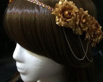Pre-Order Metallic Gold Rose Pearl Band Goddess Flower Crown Headband