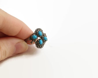 Vintage Boho Turquoise Ring- Sterling Silver & Turquoise Stone Ring