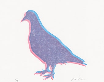Pigeon wood block print, pigeon linocut print, pigeons gifts, pigeons art, pigeon art prints, print set, matching art prints, pigeon gifts