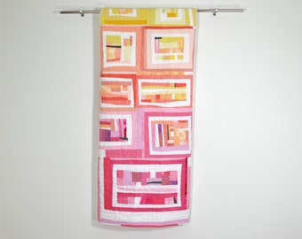 Modern Pink Quilt, Abstract Quilt, Modern Quilt, Ombre Art Quilt, Ombre Wall Hanging, Contemporary Quilt