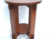 Round Wedged Tennon Tabouret Mission     Quartersawn Oak Free Shipping