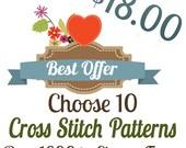 Counted Cross Stitch Pattern TEN Cross Stitch Patterns / Designs - YOU PICK Best Seller