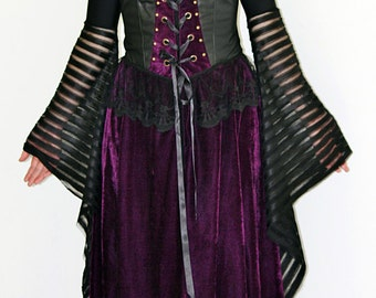 Discounted Gothic Velvet Dress - Steampunk Victorian Renaissance  Halloween Costume Fairy Pixie Corset  Black Formal Dress
