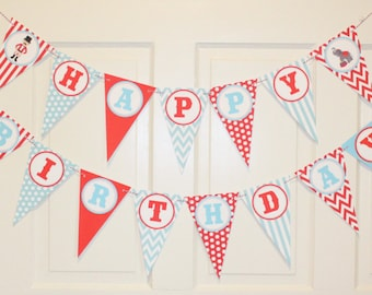 """VINTAGE CIRCUS Birthday or Baby Shower Banner """"Happy Birthday"""""""