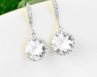Cubic Zirconia Earrings - Bridesmaids Earrings - Crystal Drop Earrings - CZ Earrings - Cubic Zirconia Jewelry - Bridal Party Gifts
