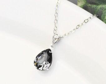 Charcoal Gray Necklace - Swarovski Crystal Teardrop Pendant Necklace - Silver Gray Bridesmaid Necklace - Bridesmaid Jewelry