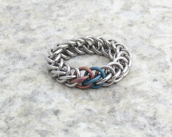 Chain Maille Ring, Pink and Teal Titanium, Stainless Steel Half Persian Ring