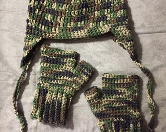 Child's Earflap Hat & Fingerless Mittens