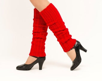 SALE--Cherry Knit Leg Warmers, Crocheted Leggings, Handmade Women's Warm, Soft, Winter Accessory, Dance Wear, Exercise, Ballet, 80's Style