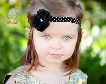 Baby You're a Star Headband - Black & Metallic Gold Polka Dot Baby Headband  - Newborn Infant Baby Toddler Girls  -