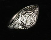 Art Deco Old European .50 Carat Diamond Engagement Ring in 18k White Gold