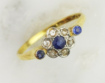 Art Deco Gold Sapphire and Diamond Cluster Ring - 18k Yellow Gold and Platinum