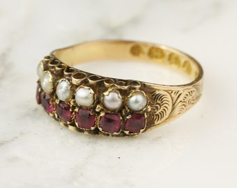 1868 Victorian Pearl and Garnet 2 Row Ring in 12k Yellow Gold