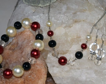 Silver Pearl Jewelry Set
