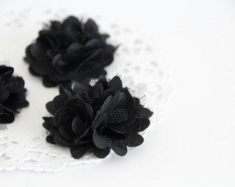 "3 pcs - Black Satin mesh flowers - Frayed Flower - Fabric Flower - 2"" Flowers"